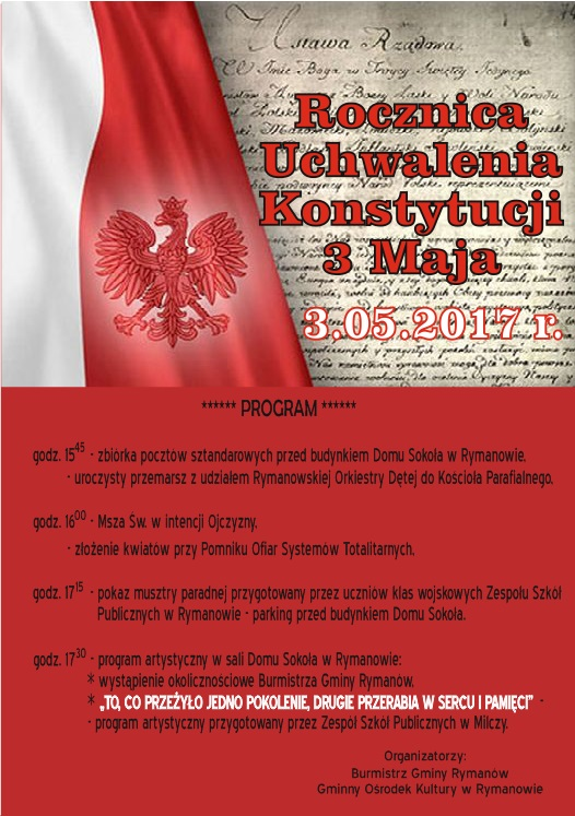Gminne obchody 226 rocznicy Uchwalenia Konstytucji 3 Maja